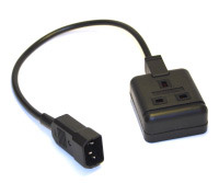 IEC 320 plug to 13A UK Socket adaptor cable 1.0m